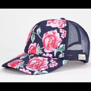 Billabong navy/pink floral rose snapback trucker